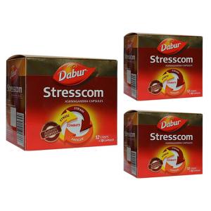 купить Стресском Ашваганда Дабур (Stresscom Ashwagandha Dabur), 3 упаковки по 120 капсул